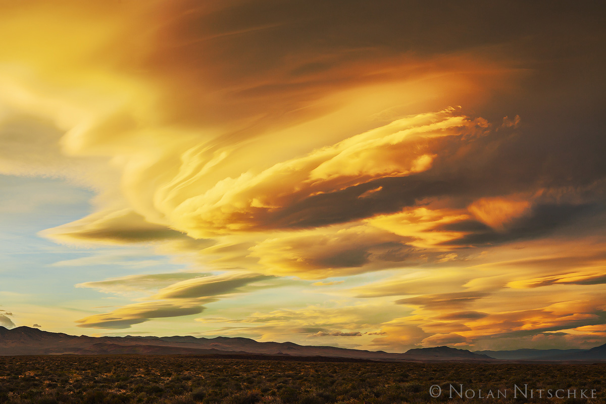 sierra wave, gold, glow, owens valley, sunset, eastern sierra, california, photo