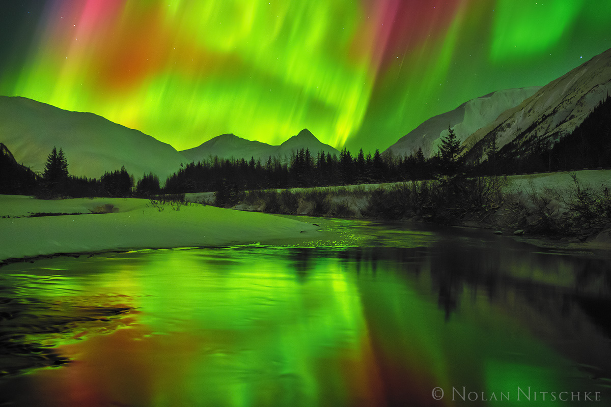 portage valley, , aurora borealis, aurora, northern lights, alaska, photo