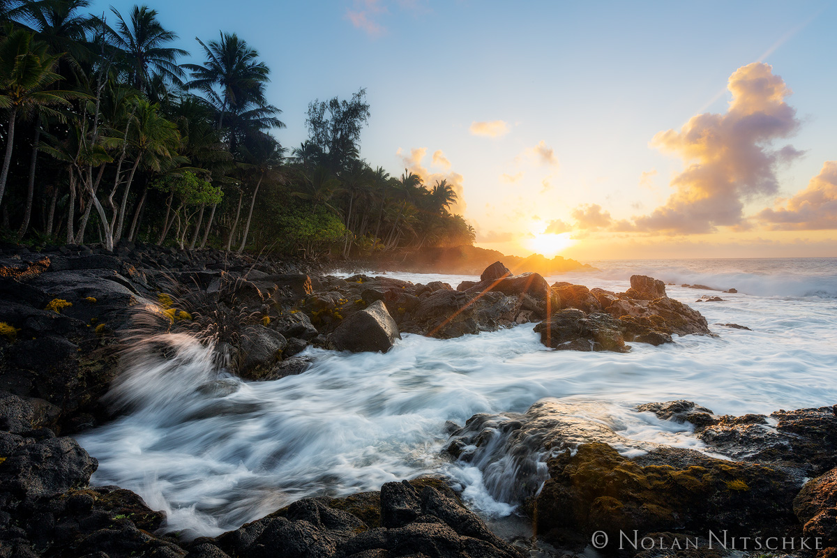 sunrise, sun, kalapana, big island, coastline, hawaii, photo