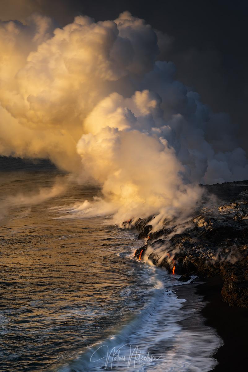 hawaii, big, island, volcano, national park, ocean, 61g, lava, flow, photo