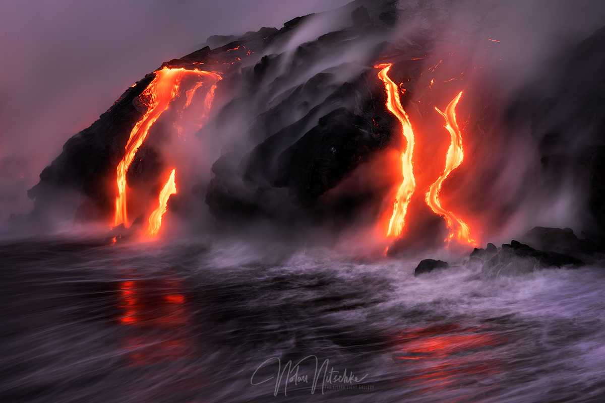 hawaii, big, island, volcano, national park, ocean, 61g, lava, flow, photo