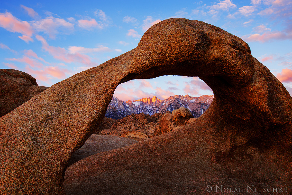 A beautiful sunrise in the Alabama Hills with the Mobius Arch framing Mt. Whitney.