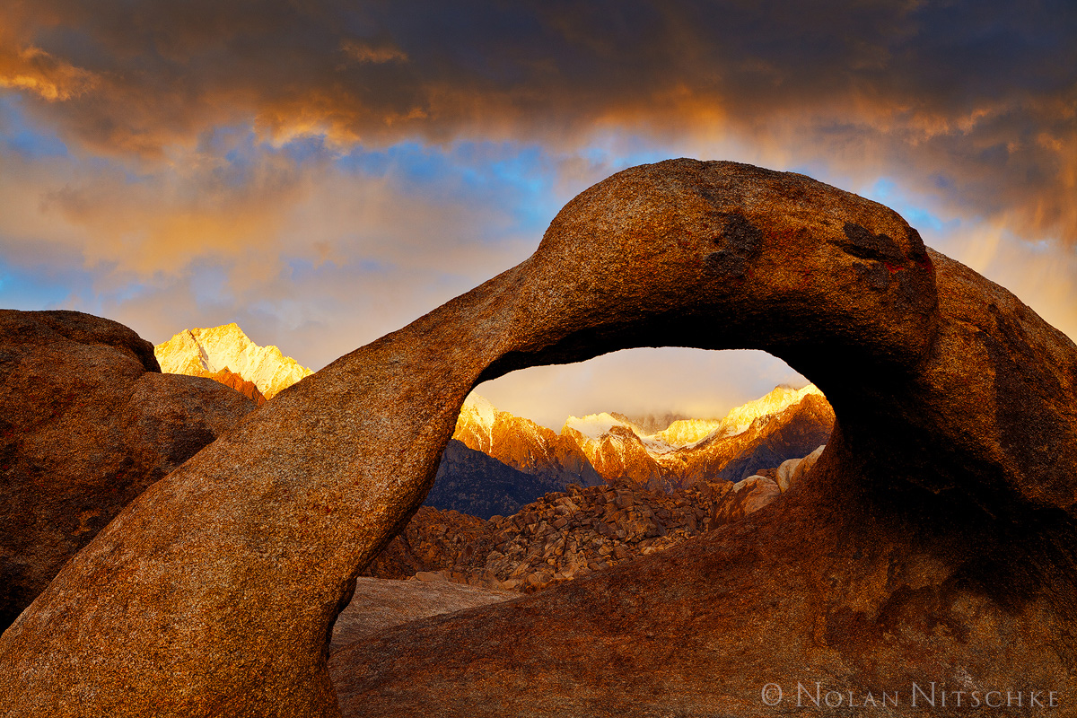 mobius, arch, alabama, hills, owens valley, storm, light, eastern sierra, california, photo