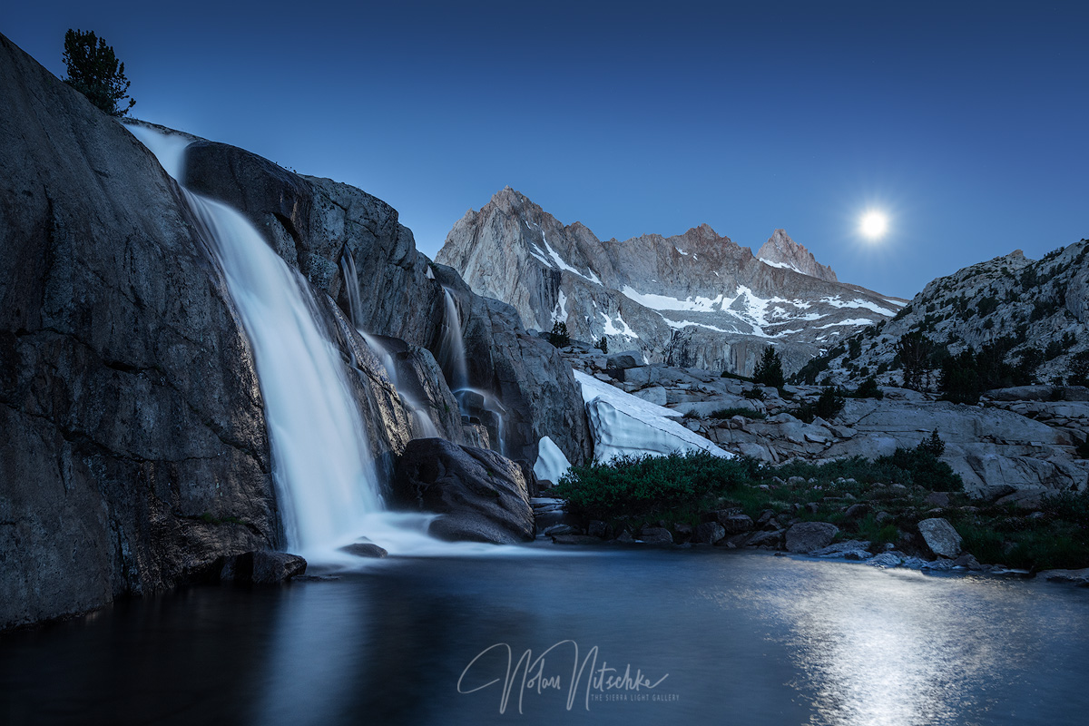 Moonlight Falls illuminated by the full moon in the Inyo National Forest and  Eastern Sierra Nevada mountains.