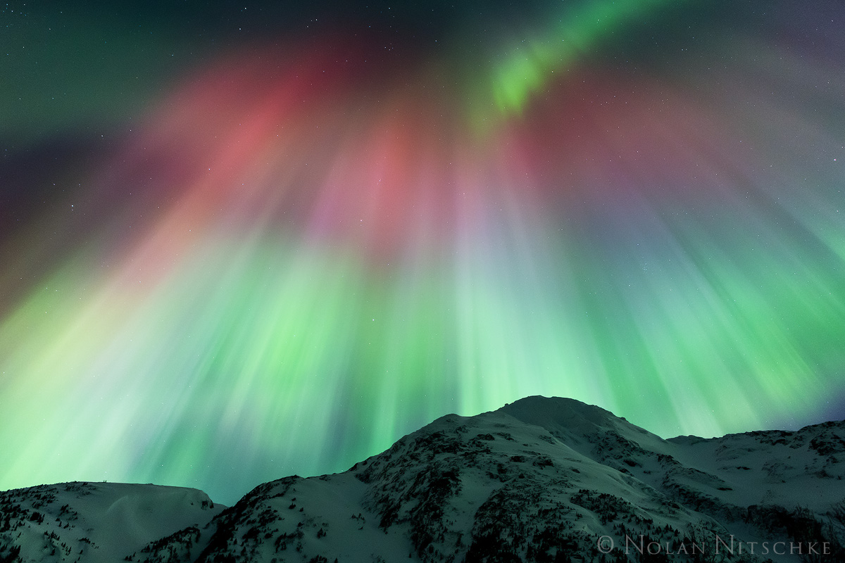 portage, valley, mountain, aurora borealis, aurora, northern lights, alaska, photo