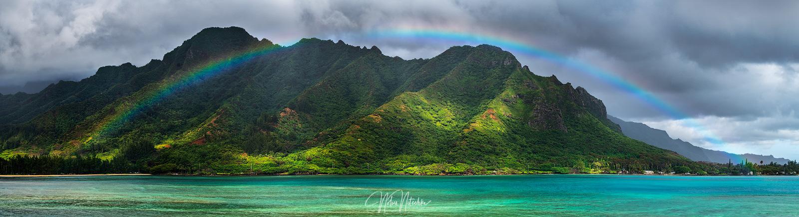A full rainbow over Kahana Bay.