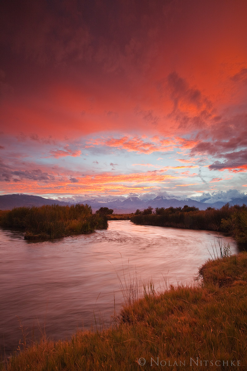 eastern sierra, california, owens valley, owens river, sunset, photo
