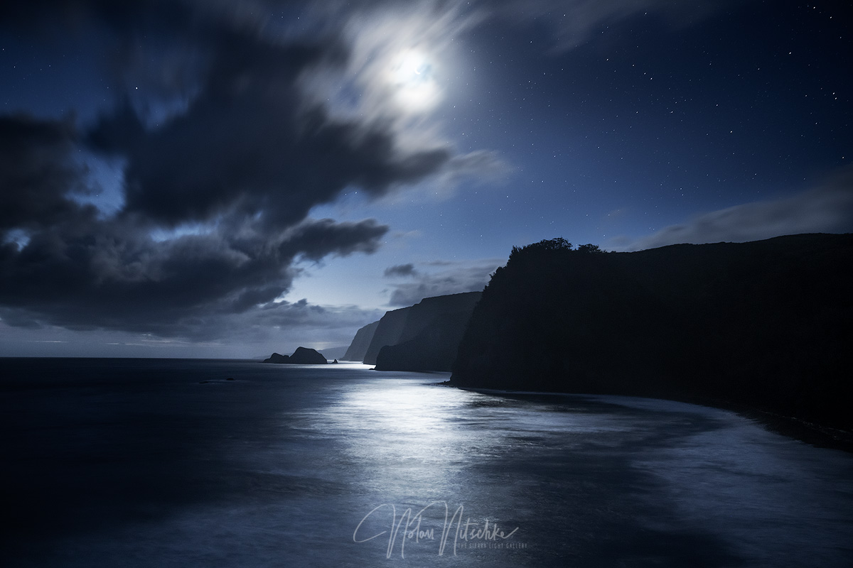 Moonlight dancing on the ocean and Pololu Valley.