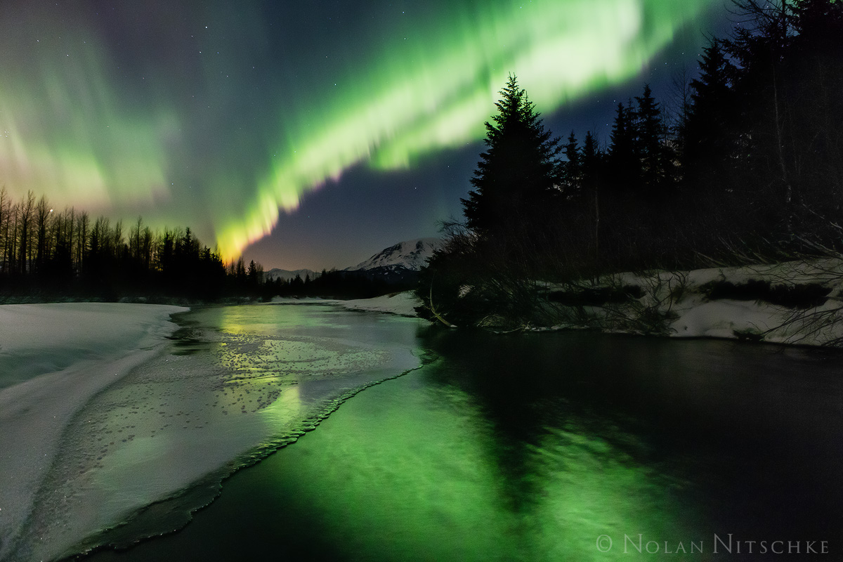portage, valley, river, , aurora borealis, aurora, northern lights, alaska, photo