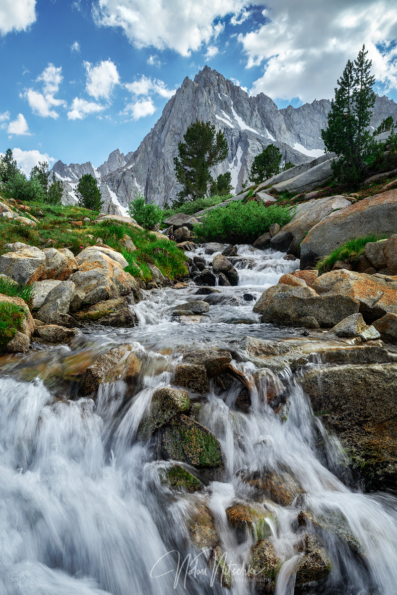 A small cascading creek under Picture Peak in the Inyo National Forest Eastern Sierra Nevada mountains.
