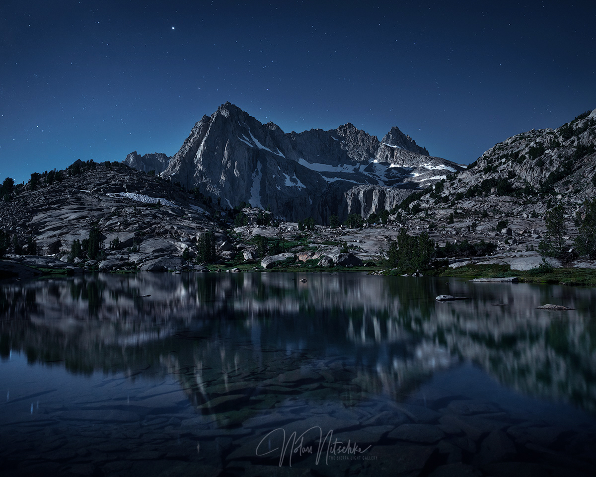 Picture Peak and Mount Haeckel under full moon light reflecting in Sailor Lake in the Inyo National Forest and Eastern Sierra...