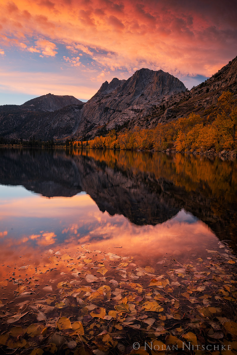 eastern sierra, california, silver lake, sunrise, carson peak, fall, color, photo