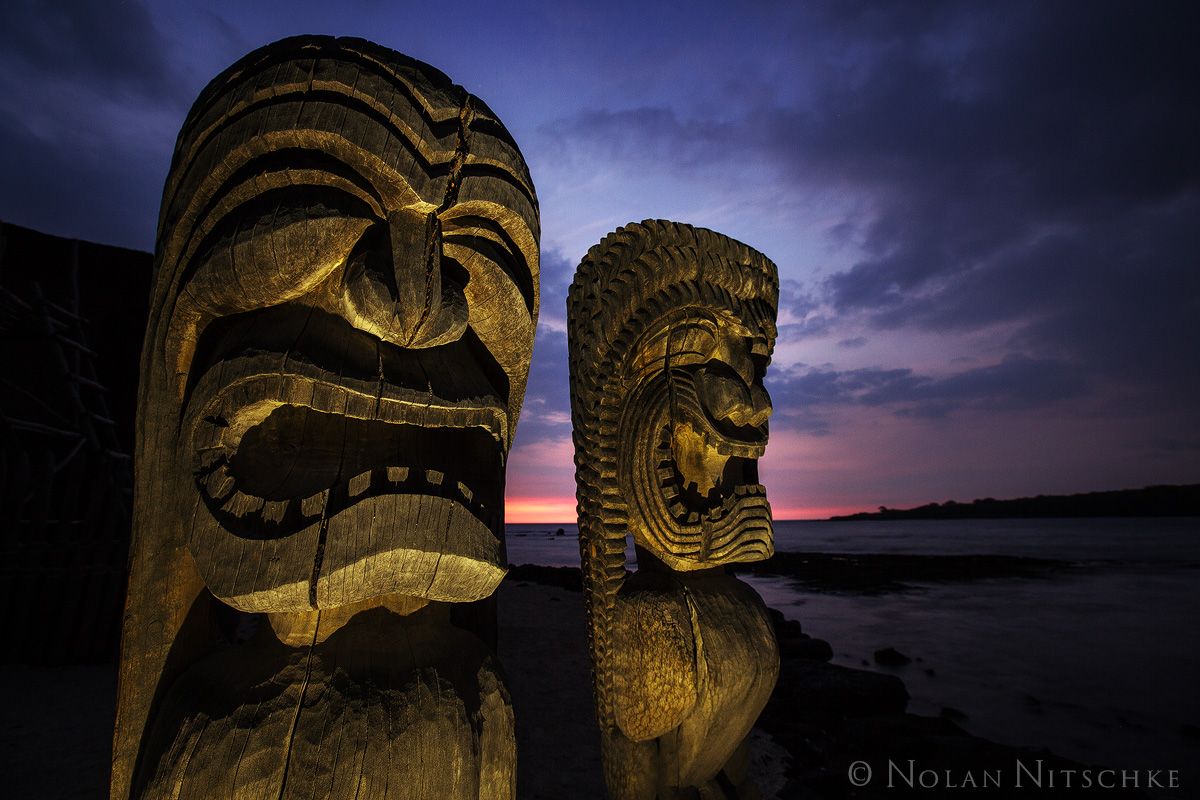 tiki, twilight, gaurdians, historical, national, park, ancient, big island, hawaii, photo