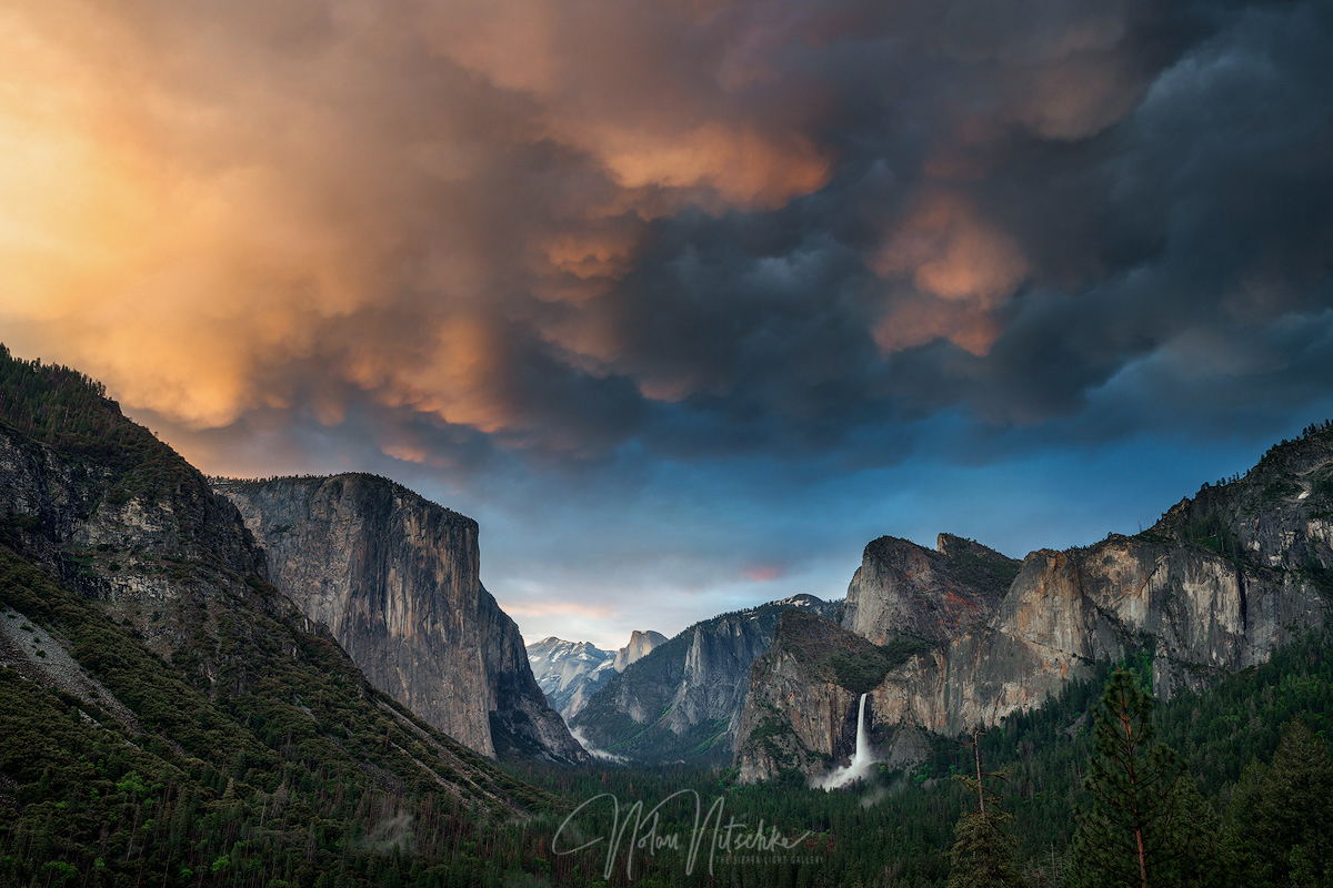 Incredibly rare Mammatus cloud at sunset over El Capitan, Half Dome,  Bridalveil Falls, and Yosemite Valley.