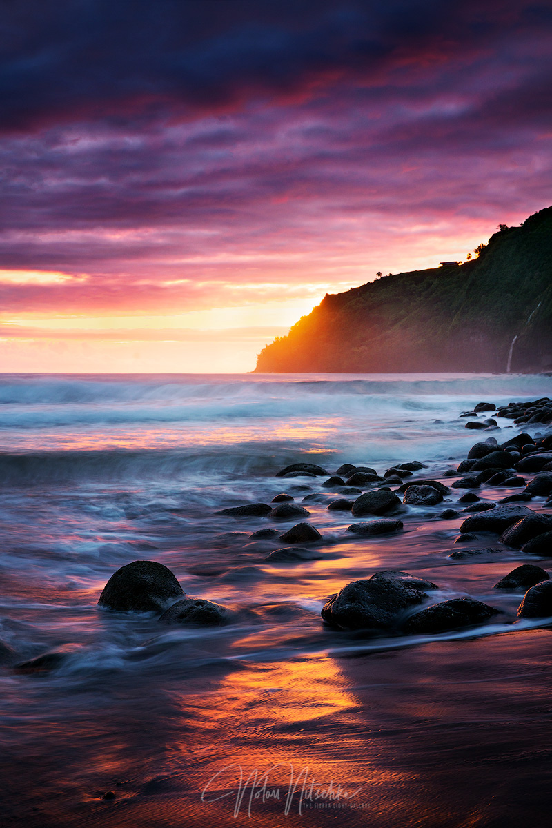 An incredible sunrise in Waipio Valley.