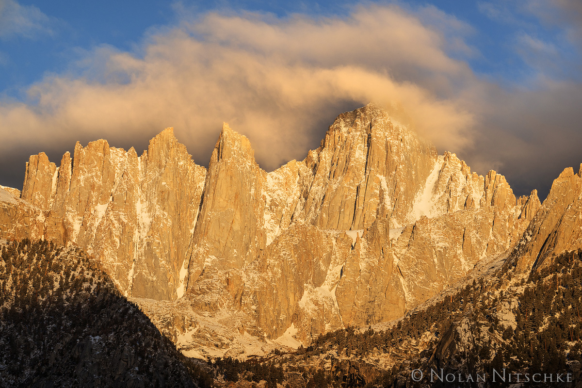 whitney, mountain, sunrise, shrouded, clouds, storm, summit, eastern sierra, california, owens valley, photo
