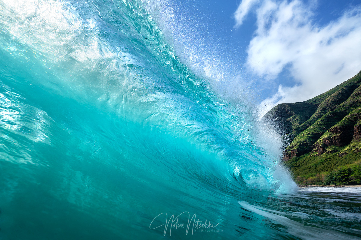 Beautiful waves barreling along Oahu.