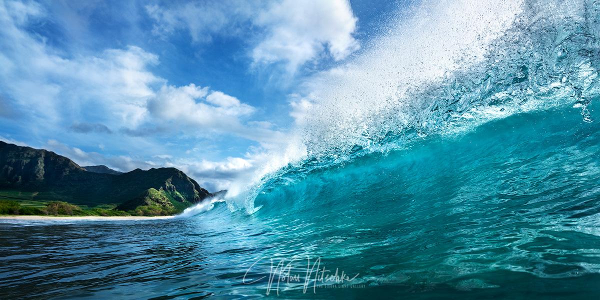 Beautiful waves barreling along Oahu.